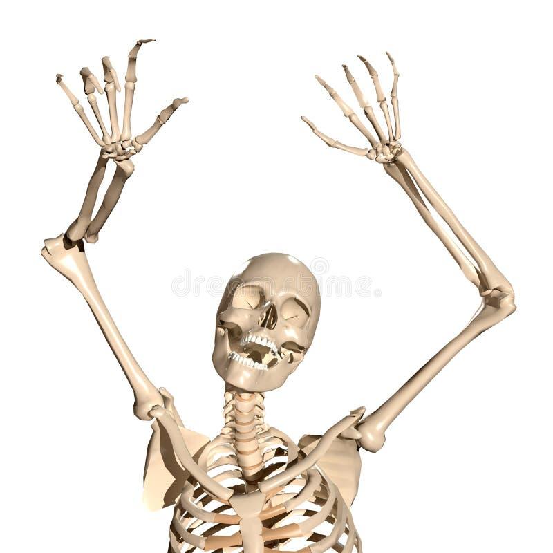 Spooky 3d human skeleton screaming royalty free illustration