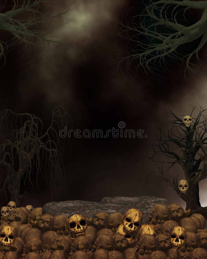 Download Spooky Dark Skull Background Stock Illustration - Illustration: 9944445
