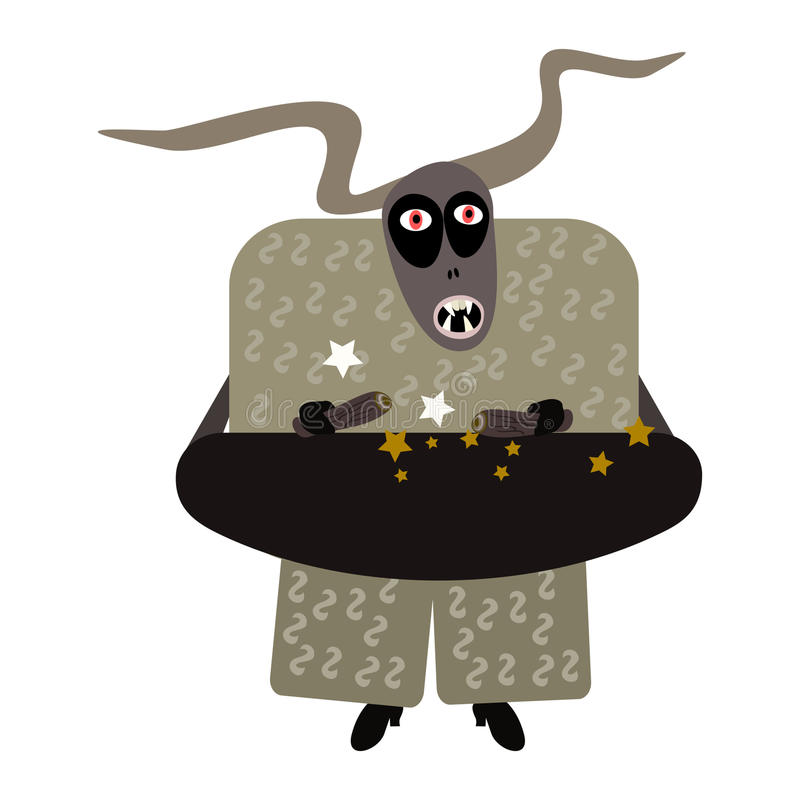 Spooky devil styled by european folk tradition Krampus. stock photography