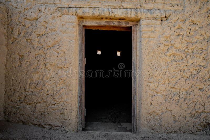 Spooky door in Al Qattara Oasis royalty free stock image