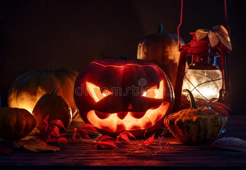 Spooky evil scary pumpkin night horror lantern candle light, happy halloween royalty free stock images
