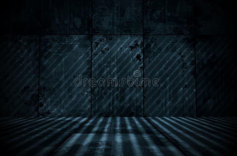 Spooky Extra Dark Cyanotype Room. A spooky extra dark cyanotype room as a background royalty free stock photo