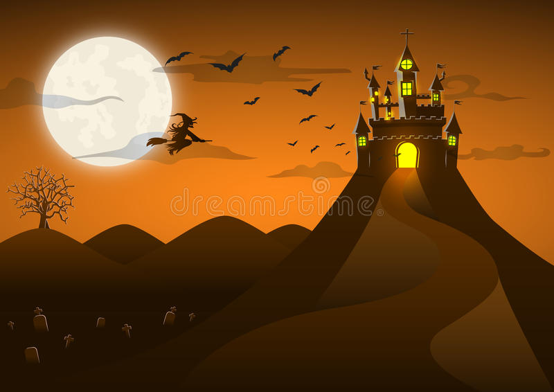 Spooky ghost castle on the hill with full moon. Bat witch, cloud, Happy Halloween background card royalty free illustration