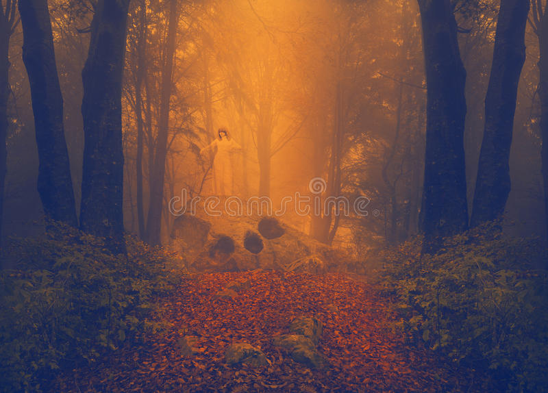 Spooky ghost girl in the mist. The ghost of a girl appears on top of a strange rock formation. Mist in the forest royalty free stock images