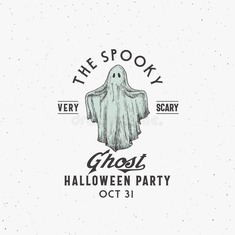 Spooky Ghost Party Halloween Logo or Label Template. Hand Drawn Colorful Ghost Sketch Symbol with Retro Typography. Shabby Textures. Isolated royalty free illustration