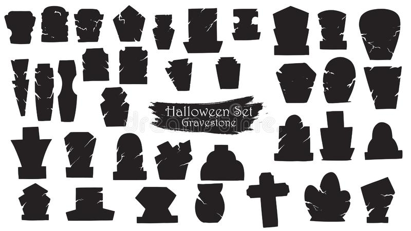 Spooky gravestone cemetery silhouette collection of Halloween vector isolated on white background. scary and creepy tombstone vector illustration