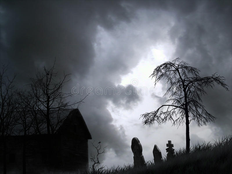 Spooky graveyard graphic royalty free stock photos