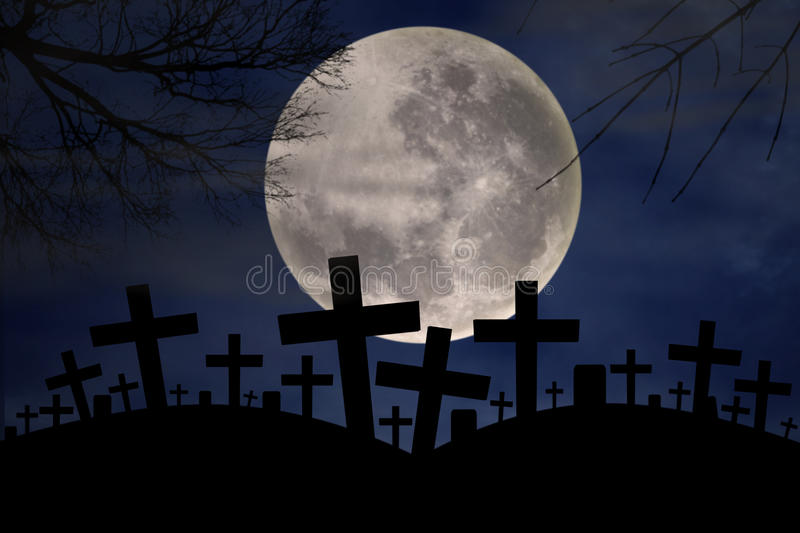 Download Spooky Graveyard In Halloween Night Stock Illustration - Illustration of background, celebration: 26657523