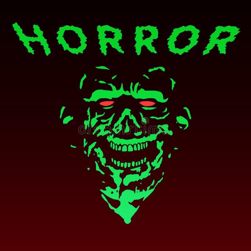 Spooky green zombie face. Vector illustration. stock illustration