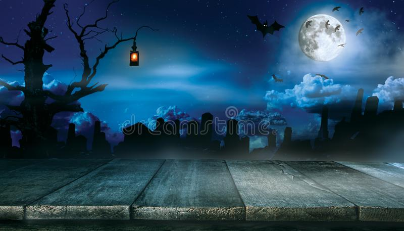 Spooky halloween background with empty wooden planks stock photography