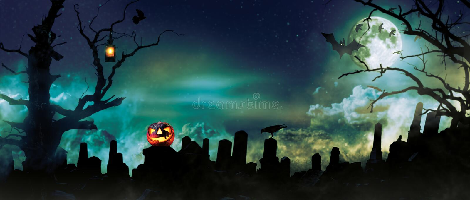 Spooky halloween background with graveyard stones silhouettes royalty free stock photo