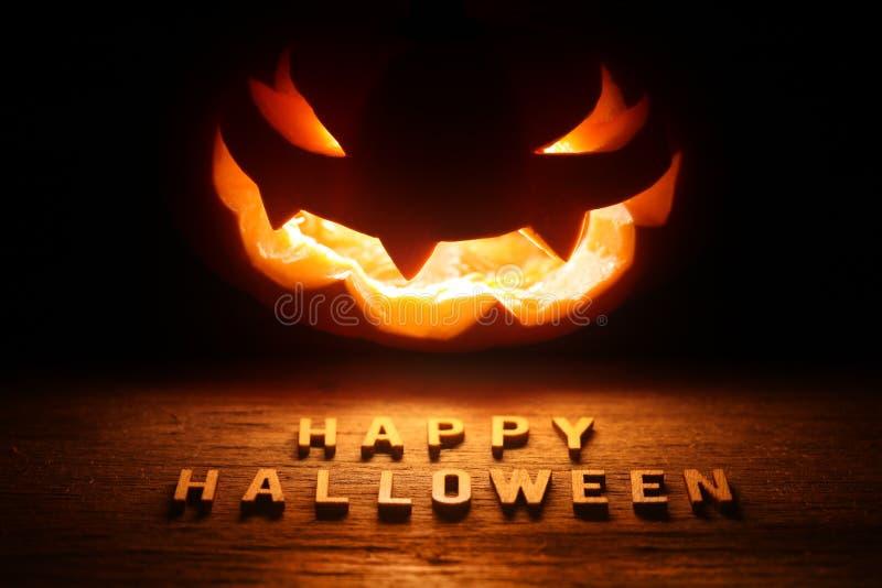 Spooky Halloween background with jack o lantern stock photo