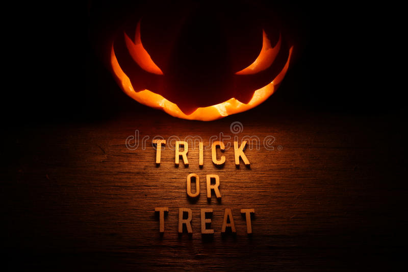 Spooky Halloween background with jack o lantern. Trick or Treat stock image