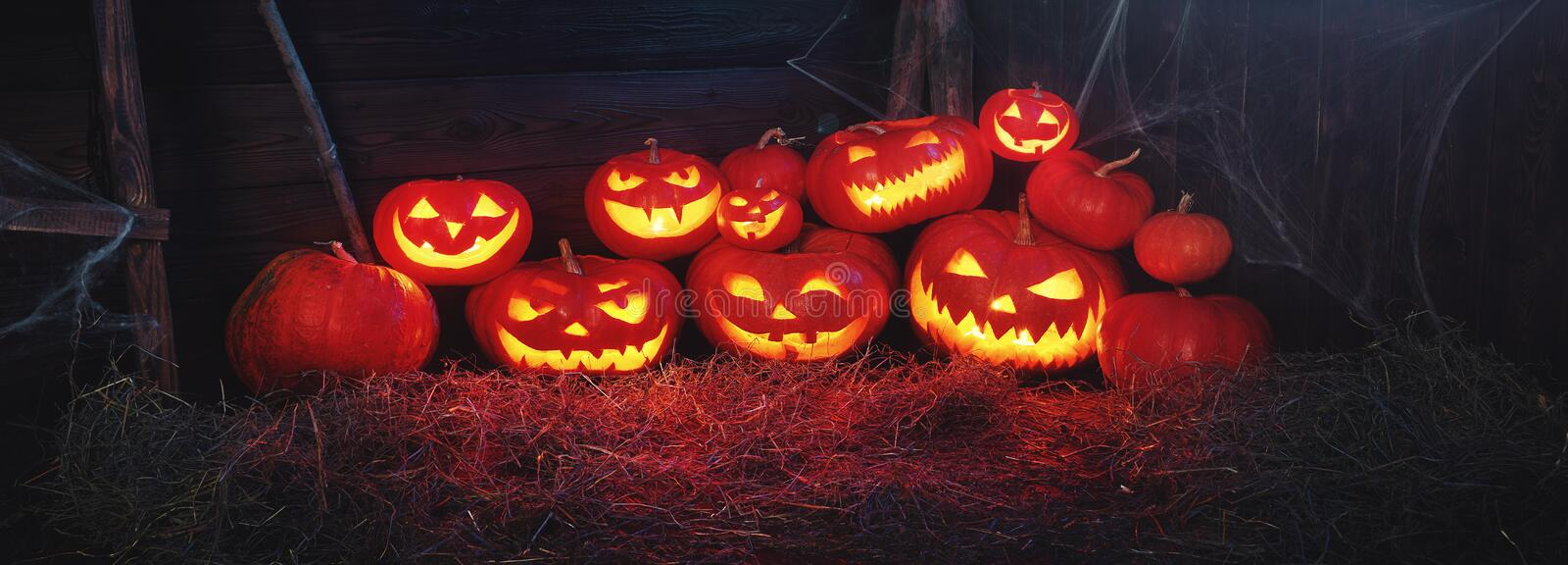 Spooky halloween background. scary pumpkin with burning eyes and. Smiles in the night royalty free stock photography