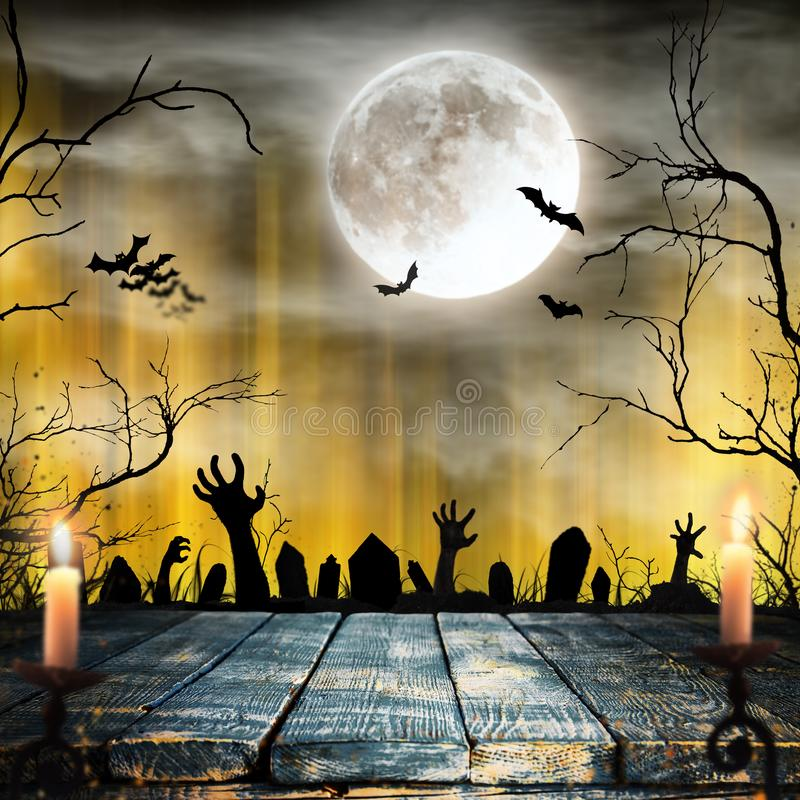 Spooky Halloween background with zombie hands. Horror theme stock photos