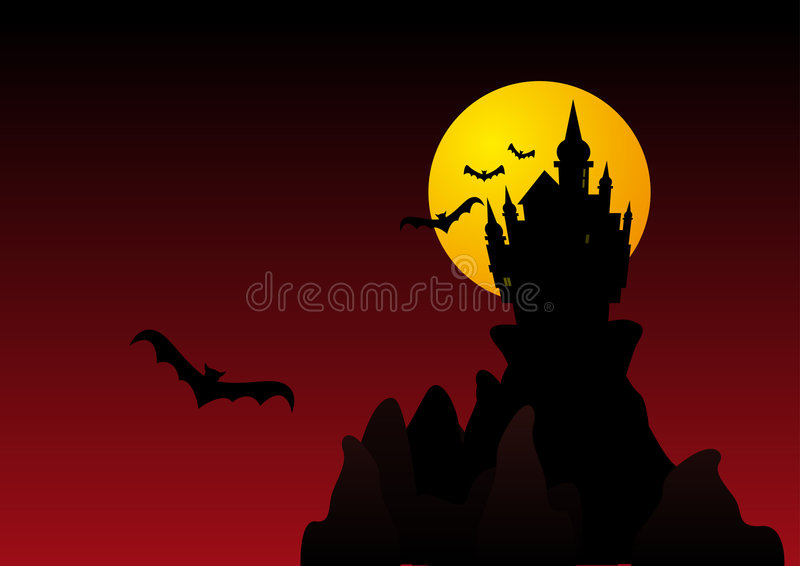 Spooky halloween castle stock photo