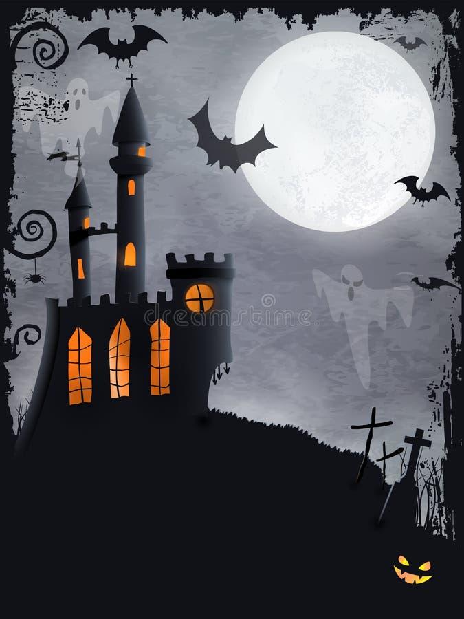 Spooky Halloween castle, vector background stock illustration