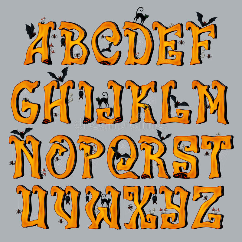 Spooky Halloween Font Capital Letters royalty free illustration
