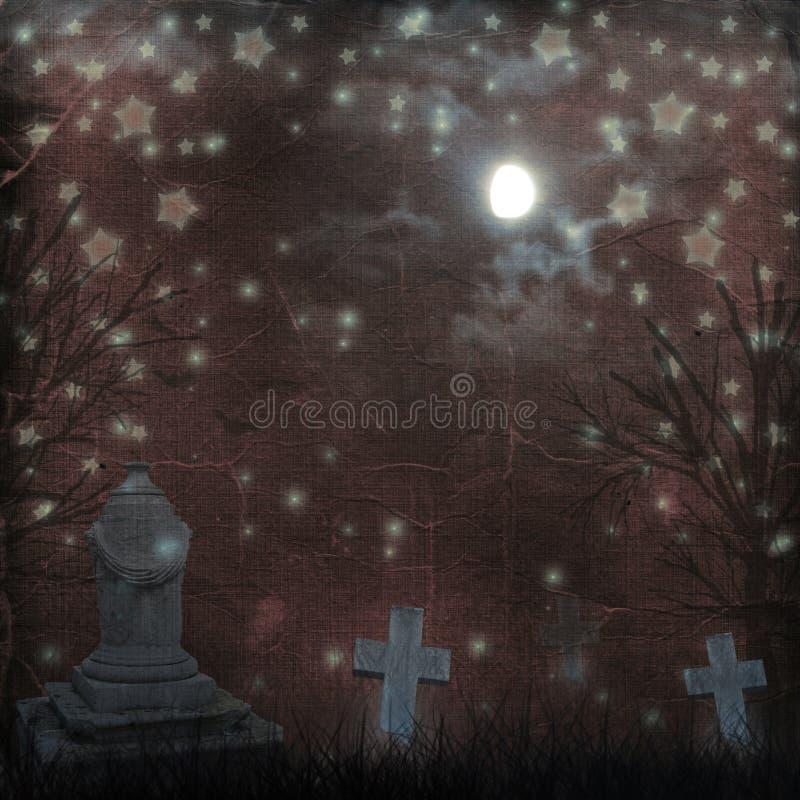 Spooky Halloween graveyard with dark clouds vector illustration
