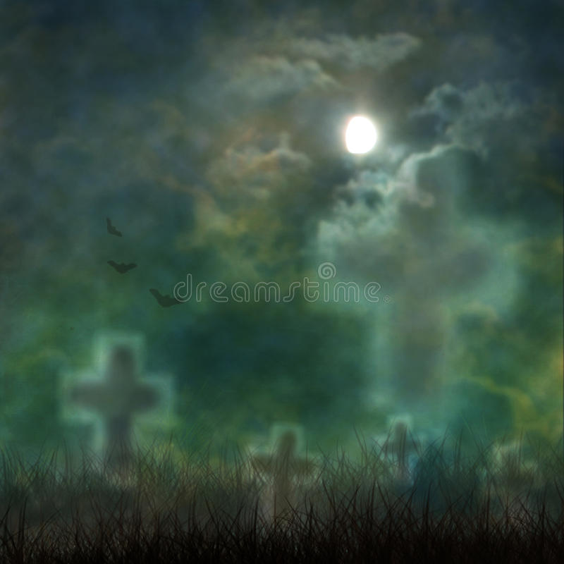 Spooky Halloween graveyard with dark clouds royalty free illustration