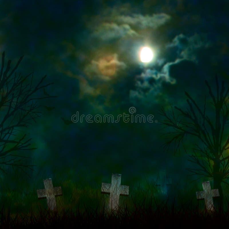 Spooky Halloween graveyard with dark clouds stock illustration