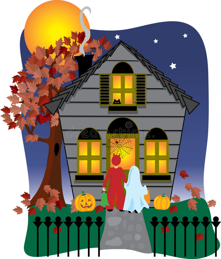 Spooky Halloween House. Creepy Halloween house and trick or treaters at the door royalty free illustration