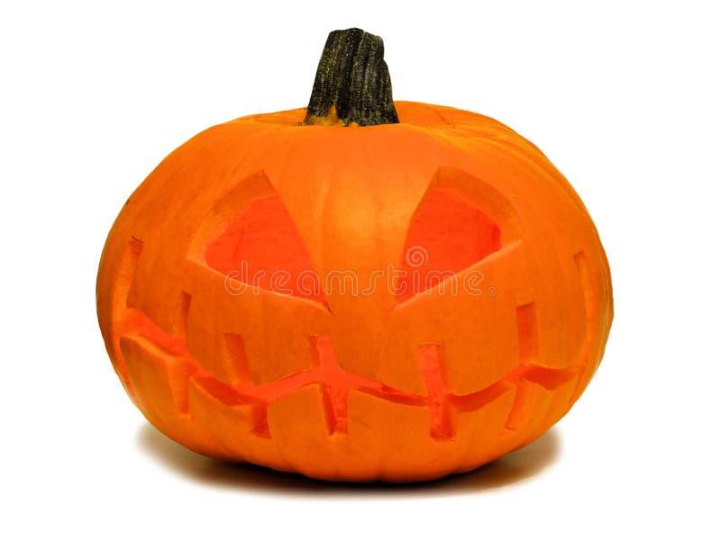 Halloween Jack o Lantern isolated on white. Spooky Halloween Jack o Lantern isolated on a white background royalty free stock photos