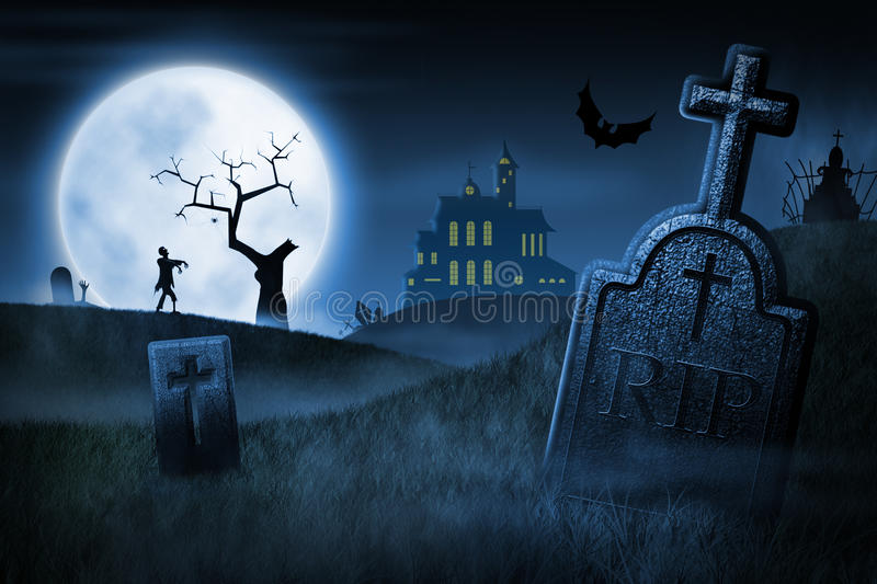 Spooky Halloween night royalty free illustration