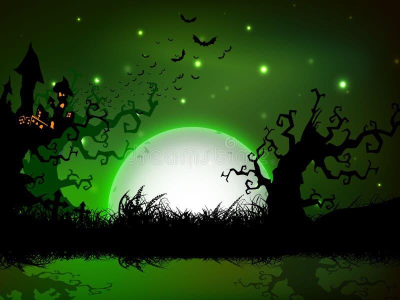 Spooky Halloween night background. stock illustration