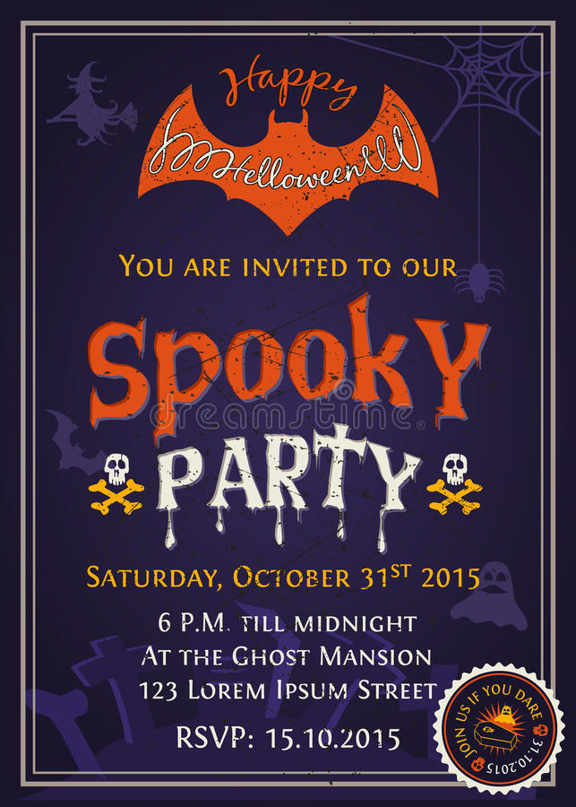 Spooky Halloween Party Invitation Card Design Stock Vector ...