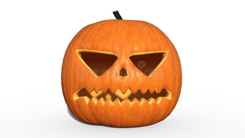 Spooky Halloween pumpkin, carved Jack O Lantern, holiday decoration isolated on white background, 3D render. Spooky Halloween pumpkin, carved Jack O' vector illustration