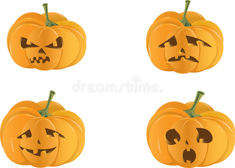 Spooky Halloween Pumpkin Isolated Stock Images