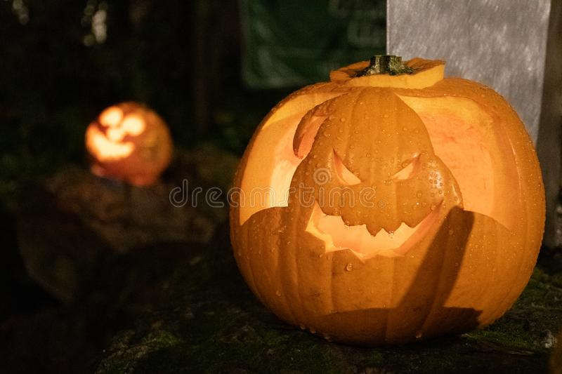 Spooky Halloween pumpkin, Oogie Boogie from The Nightmare Before Christmas royalty free stock image