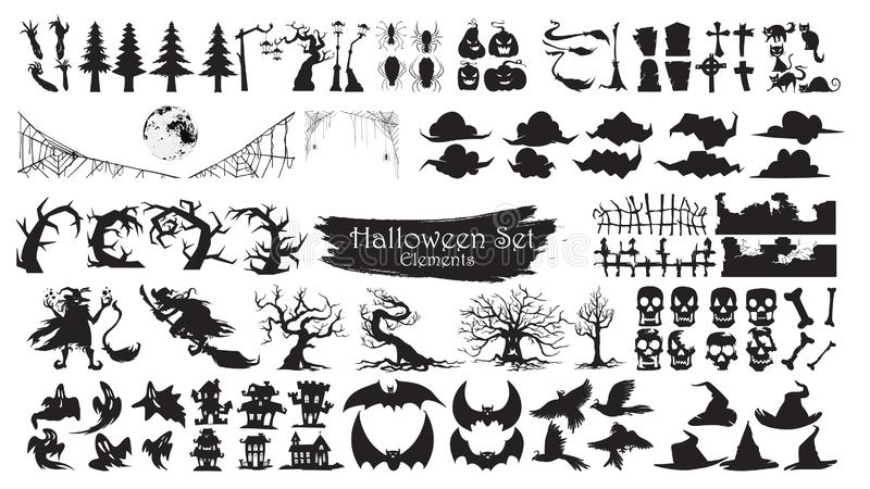 Spooky Halloween Silhouette Elements Vector Collection isolated. On white background. scary and creepy element icon character vector illustration