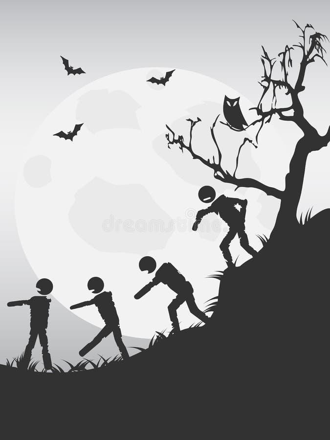 Spooky halloween zombies background stock illustration