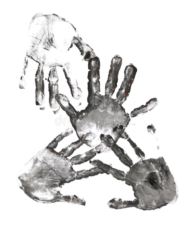 Free Spooky Hands Print Over White Stock Image - 14804851
