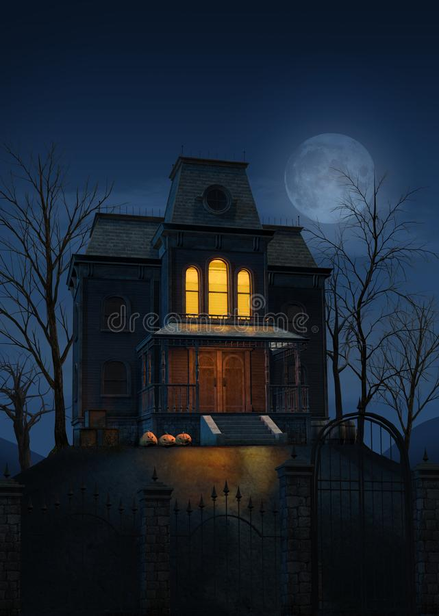 Spooky haunted ghost house at Halloween stock illustration
