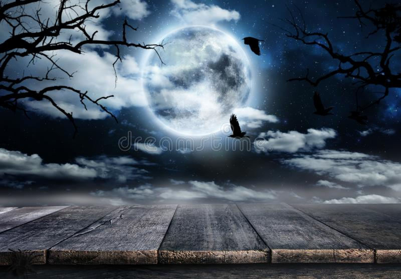 Spooky horror background with empty wooden planks stock photo