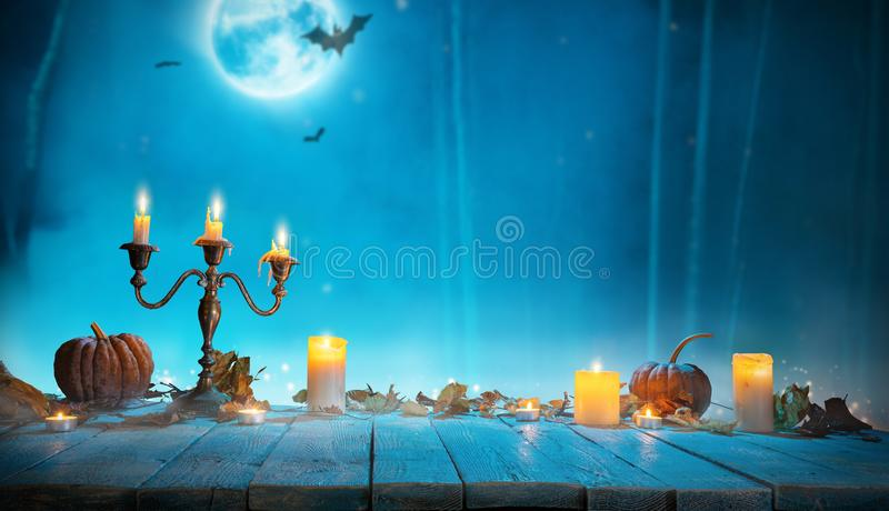 Spooky horror background with empty wooden planks royalty free stock images