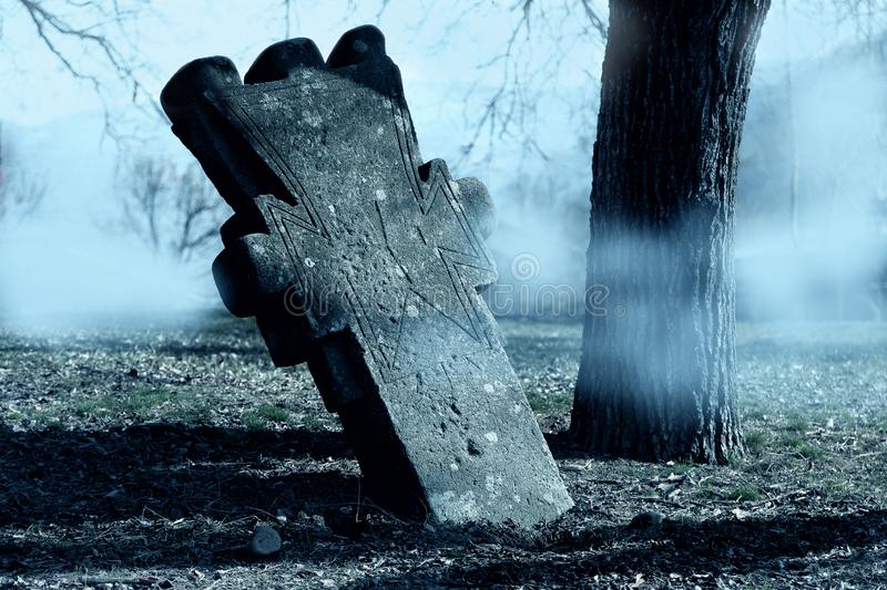 Spooky  Horror Halloween graveyard with fog. Halloween scary night concept. royalty free stock photos