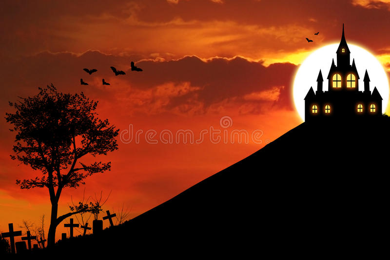 Spooky house. Halloween background with graveyards and spooky house on the hill at dusk of the day stock illustration