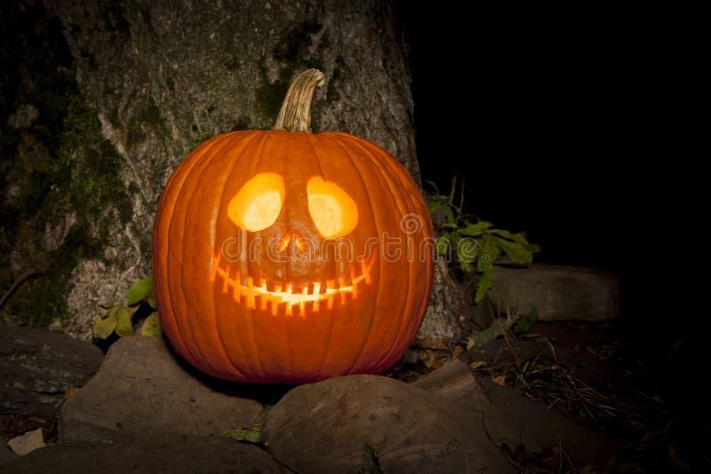 Spooky Jack-o-lantern Outdoors stock photos