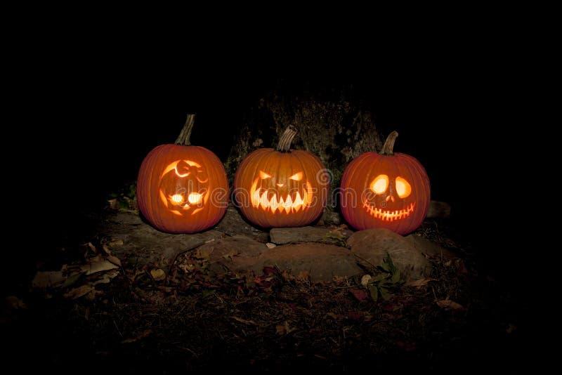 Spooky Jack-o-lanterns Outdoors stock photos