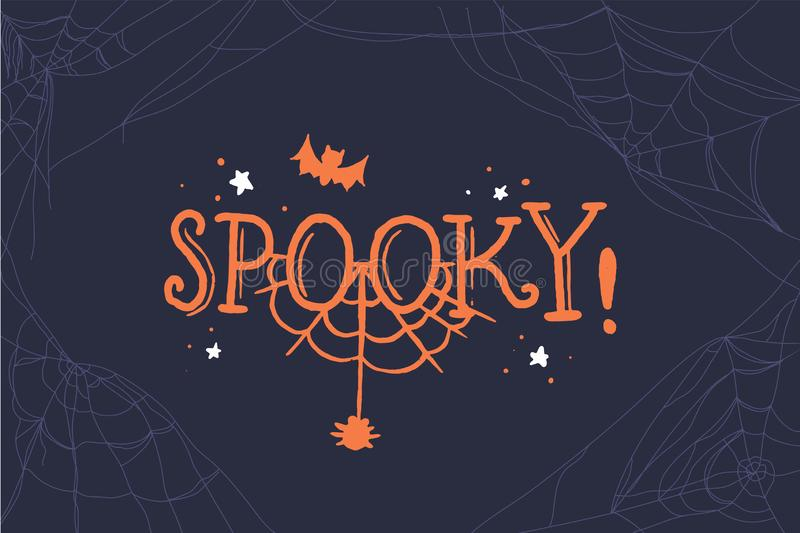Spooky lettering. Halloween party design element, text banner, vector. Vector template. Black background. royalty free illustration