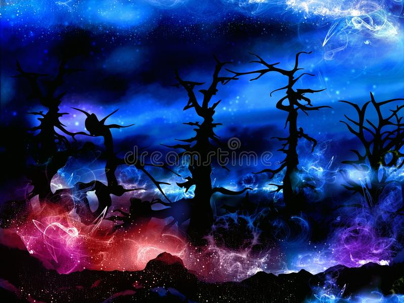 Spooky magical forest with mysterious lights stock illustration