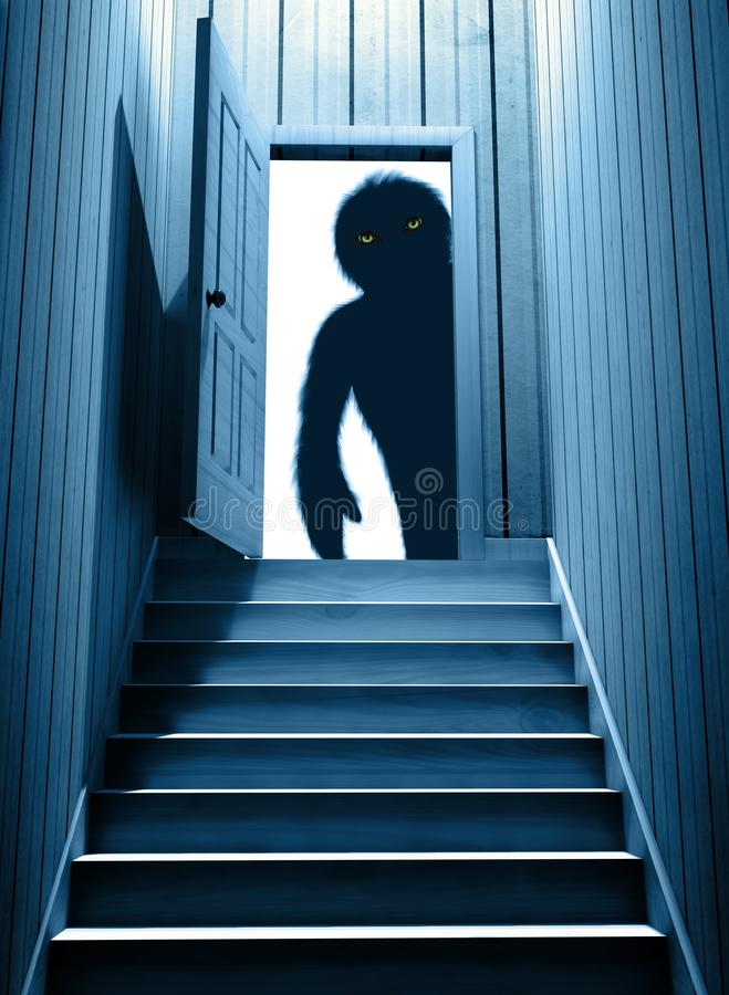 Spooky monster with glowing eyes in opened door vector illustration