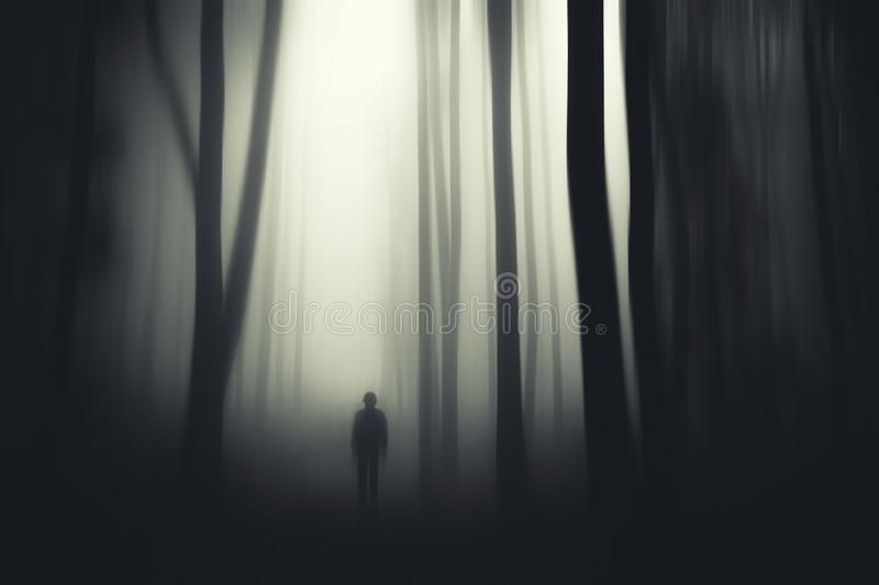 Spooky monster in haunted surreal woods. Spooky monster appearing in haunted surreal woods with fog. Haunted forest royalty free stock photo