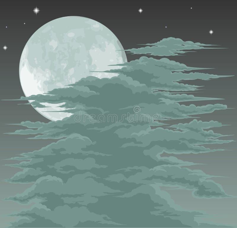 Spooky moonlit sky background vector illustration