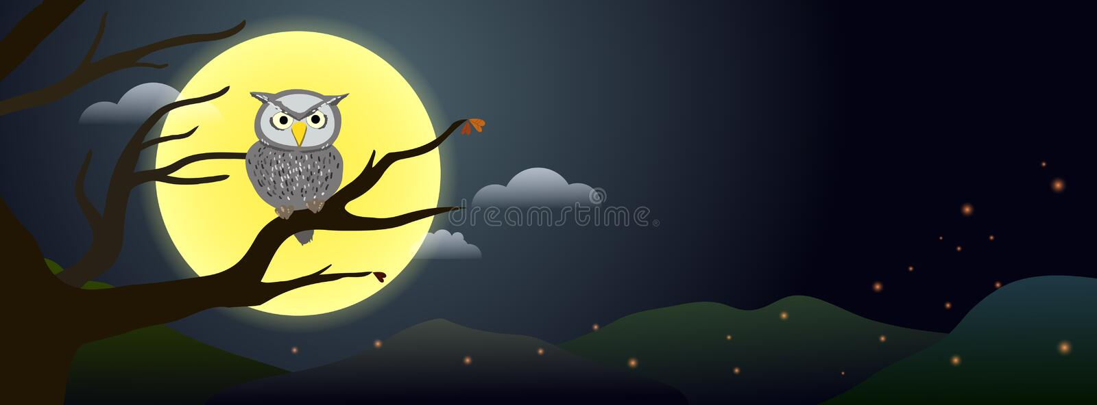 Spooky night owl resting on dead tree branch with full moon in the background stock illustration