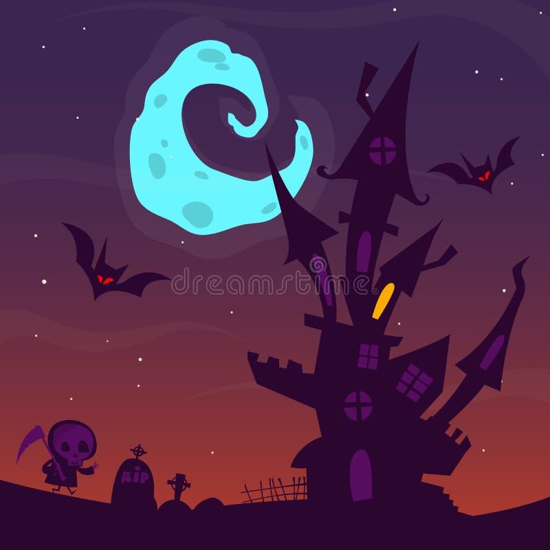Spooky old ghost house. Halloween cartoon background. Vector illustration. stock illustration